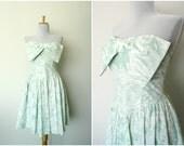 Vintage 80s seafoam green strapless dress brush stroke floral print tuxedo bow (xs - s)