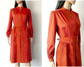 80s brown suede dress wrap style belted bow ties midi long sleeves mandarin collar reddish rust secretary small S