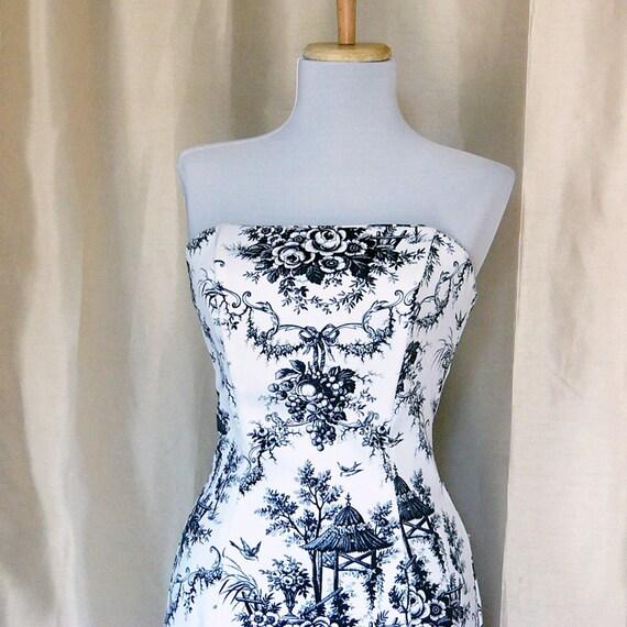 Antique print black and white strapless dress