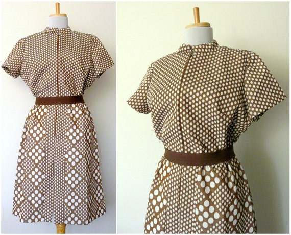 60s mod brown psychedelic polka dot scooter dress (large - xl)