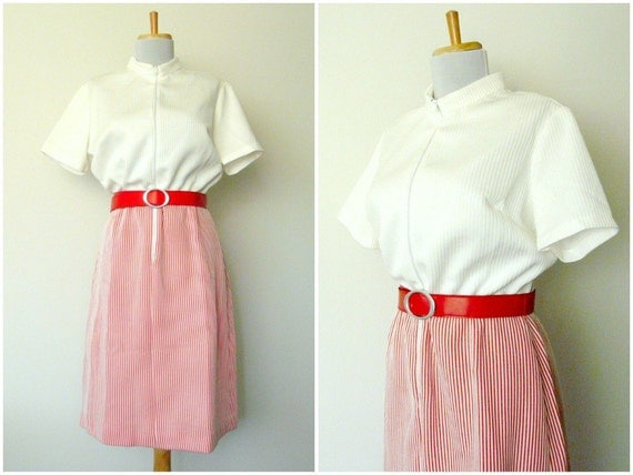 60s red striped dress peppermint scooter plus size (large - xl)