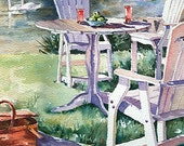 Adirondack Chairs watercolor print, signed and matted