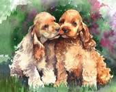 Cocker Spaniel Dogs watercolor print, signed and matted