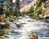 Fly Fishing in the Mountains, watercolor painting print