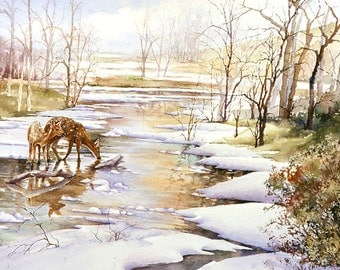 Deer in Snow watercolor print, signed and matted