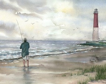 Lighthouse and Fisherman original watercolor painting