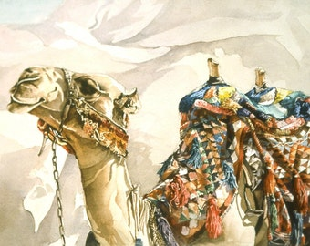Camel watercolor print, signed and matted