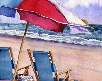 Patriotic Beach Umbrellas watercolor painting print