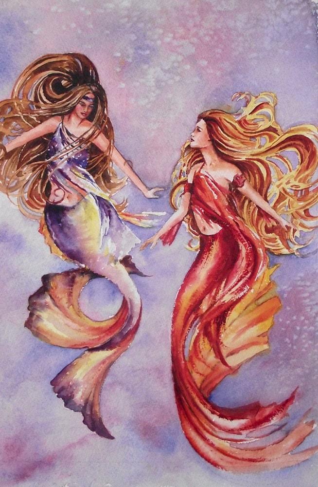 Decorative Mermaids underwater original watercolor by ...