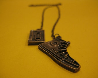 Cassette Tape and Sneaker Lariat Necklace,  Kickin it Old School Sneaker