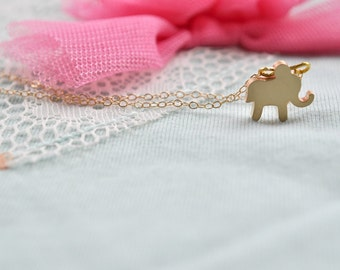 Little Elephant Necklace, 14k Gold