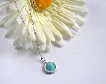 Baby Blue Pendant Necklace