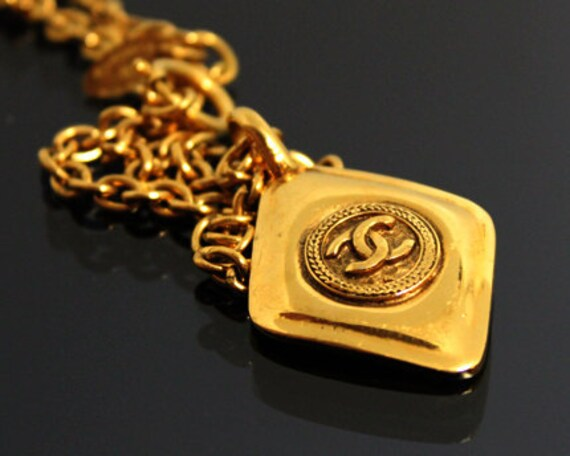 CHANEL Necklace Jewelry Vintage Chain Logo Coco Chanel Gold Diamond Shape Express Shipping 1990 - 1992