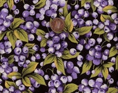 1/2 Yard Blueberries on Black Marcus Brothers Fabric