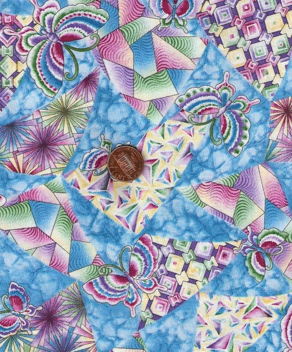 Kaleidoscopes and Butterflys Hollytex Fabric Over 1 Yard
