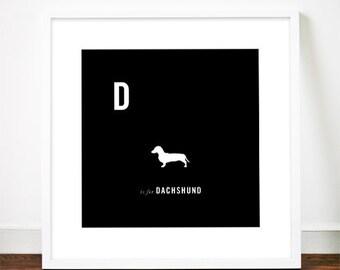 Dachshund print poster art illustration Sausage dog typography alphabet