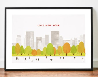 Central Park illustration A3 New York poster art print Love city skyline