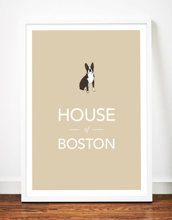 Boston Terrier print poster art illustration typography puppy dog