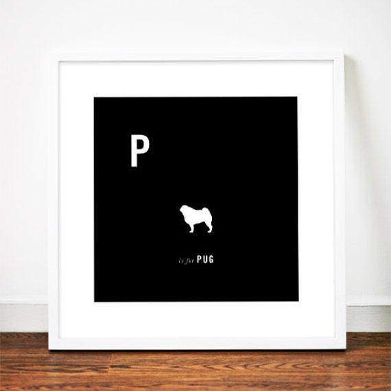 Pug print art poster illustration dog silhouette typography