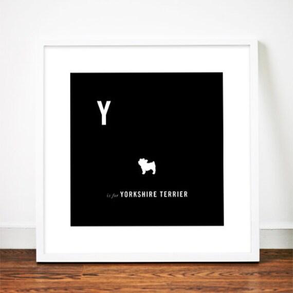 Yorkshire Terrier print art illustration silhouette typographic yorkie typography alphabet