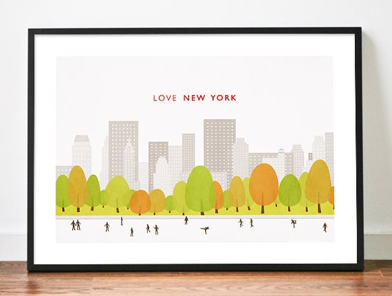 New York poster art print illustration Central Park Love city skyline