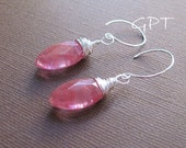 CLEARANCE Cherry Quartz Marquise Dangle Earrings - Sterling Silver