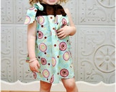 Turquoise and Brown Girls Pillowcase Dress perfect for Spring, Summer, or Easter