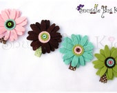 Girls Hair Clip... Felt Flower Hair Clip ...Set of 4.... Girls and Baby Hair Clip - No Slip Grip Available ...In stock ready to ship
