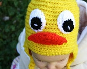 Fun on the Farm....Ducky Friends...Crocheted Hat...Made to order in any size...NB - Adult...