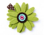 Eastern Skies.... Handmade... Moss Green and Pink Felt Flower Button.... Single Clippie.... No Slip Grip Available