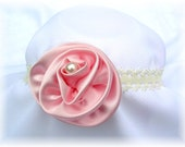 Precious Pink..... Handmade Silk and Netting Rose with accented Pearl.... Stretchable Lace headband.... Fits NB - Adult