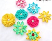 Fabric flowers for your interchangeable flower legwarmers or socks by Snuggle Bug Kidz