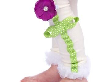 Cream Legwarmers - Flower Legwarmers - size 6mo - Girls 7/8