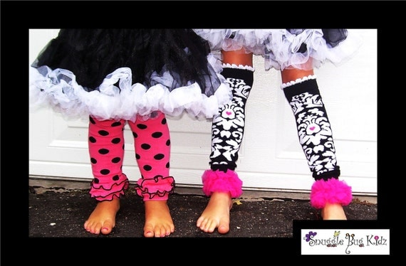 Precious Pink and Black double ruffle knit legwarms