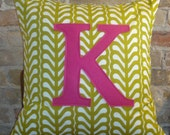 K monogrammed pillow case 20x20, any letter/colour available