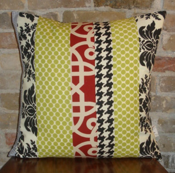 contemporary quilt pillow case 20x20, black and white, red, lime