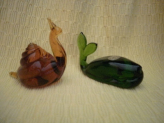 Vintage - Pilgrim Green Glass Whale and Amber Snail Paperweights