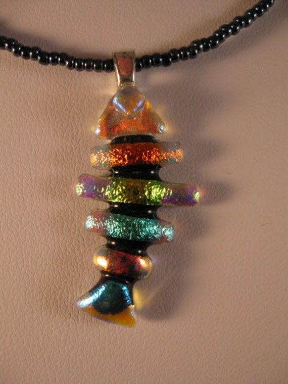 Beautiful dichroic glass fish bone necklace dichroc glass for Fish bone necklace