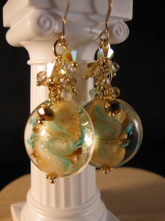 Venetian Glass Crystal Gold Cluster Earrings - venetian glass earrings, crystal earrings, gold earrings, dangle earrings