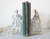 Vintage French colonial white with gold porcelain bookends