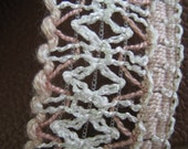Delicate Pink and White Vintage Trim for upholstery, millinery, art dolls, mixed media - 2 yards