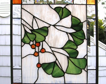 """Ginkgo Leaves with Berries--14"""" x 16""""--Stained Glass Window Panel"""