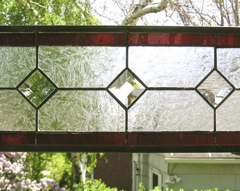 """Red and Clear Textured--6.5"""" x  18.5""""--Stained Glass Window Transom Panel"""