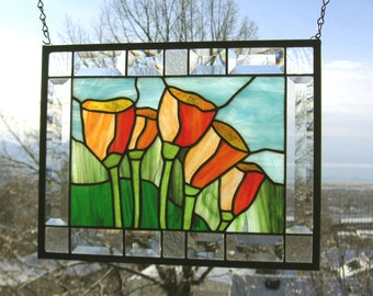 """Five California Poppies--12"""" x  15.5""""--Stained Glass Window Panel--"""