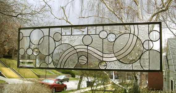 """Arts and Crafts Style Circles-- 8"""" x  27""""--Stained Glass Window Panel"""