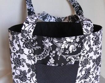 Black and White Classic Open-Top Handbag