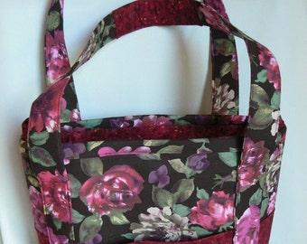 Red Floral Pockets and Pockets Handbag