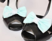 Shoe Clips - White and Aqua Bows - Glamcessories