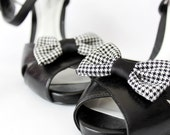 Shoe Clips - Houndstooth bows. Shoe Accessories. Upcycled Fabric.