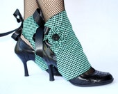 Houndstooth Mint Green & Black Spats. Handmade. OOAK.